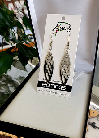 Silver Stainless Steel Poutama cutout Surfboard earring 55mm