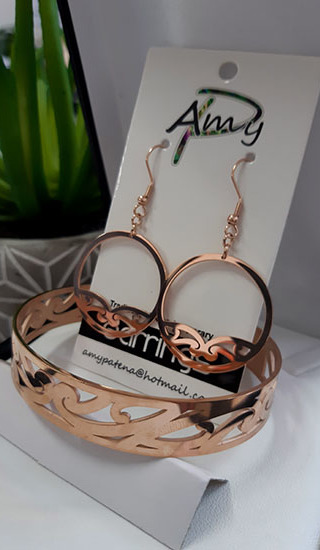 Puhoru Hoop earrings 30mm and skinny cuff Rose Gold
