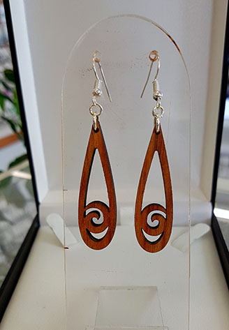Koru teardrop recycled Rimu earrings 40mm Surgical steel Hooks