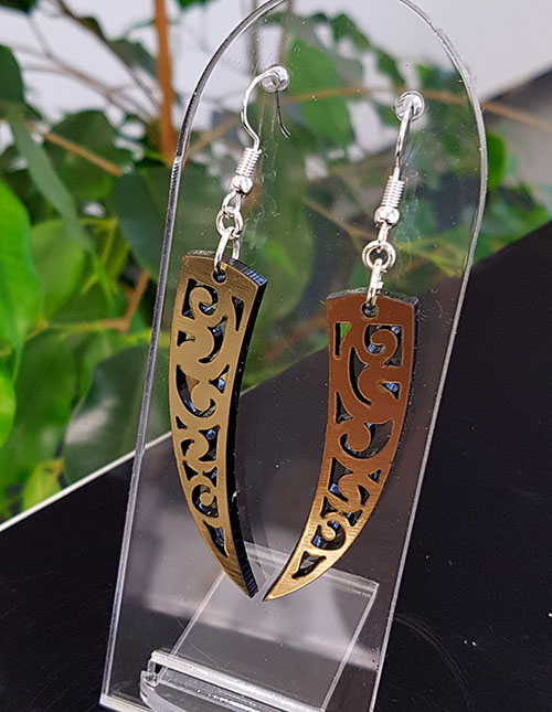 Gold & Black Acrylic Niho Earrings