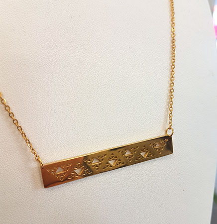 Niho Taniwha Bar Chain and (Rose Gold Stainless Steel)