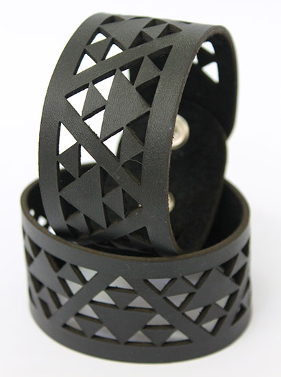 NZ Leather Niho taniwha Black cutout  cuff Med, Lge 230mm  x 40mm