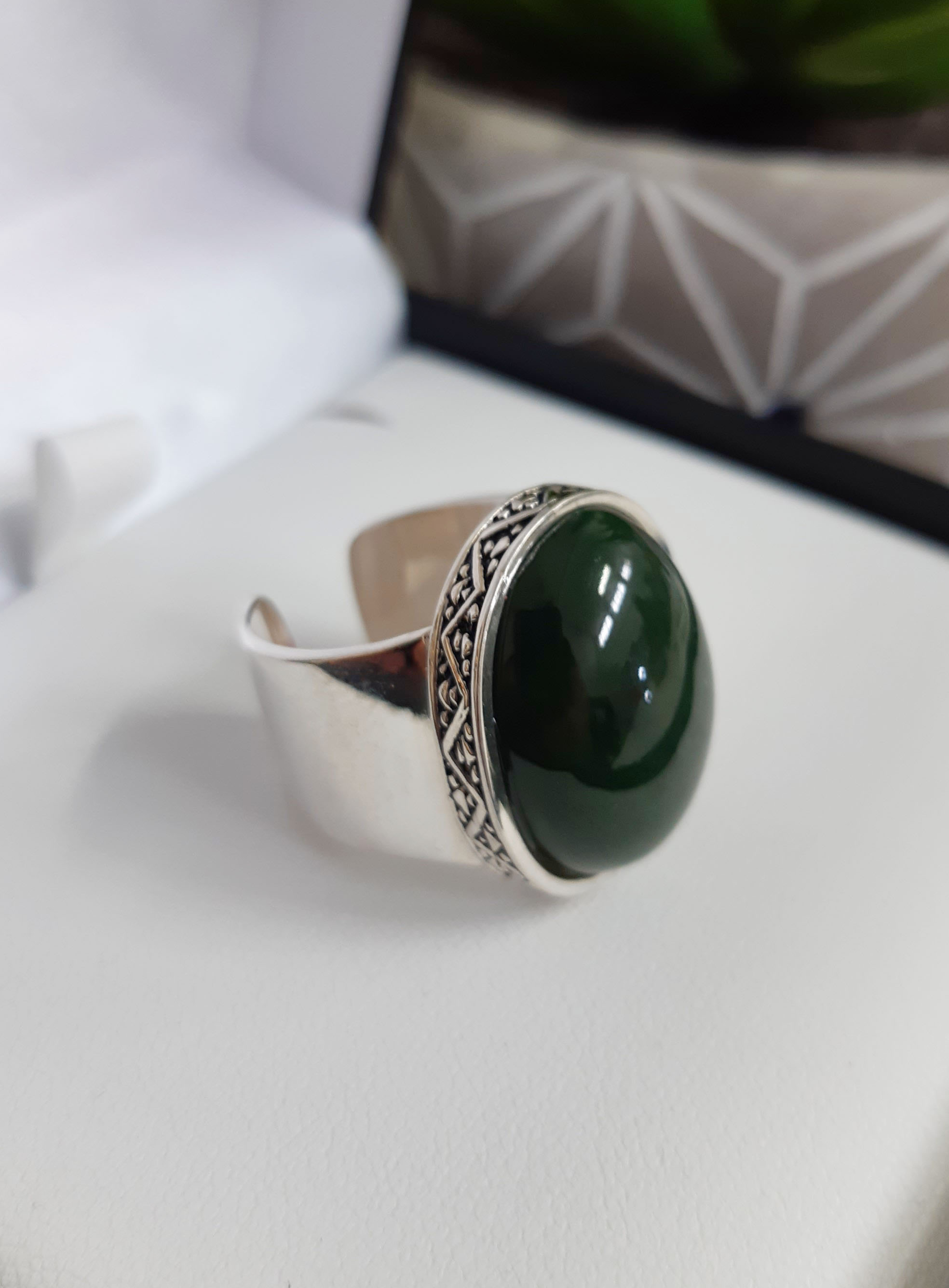 Sterling Silver Ring with Kawakawa Pounamu cabochon 16mm Solid adjustable Sterling Silver Ring with Inanga Pounamu cabochon Primary ring size 7-8