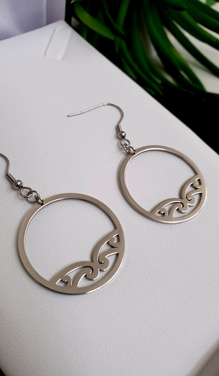 Silver Puhoro Hoop Earrings 35mm