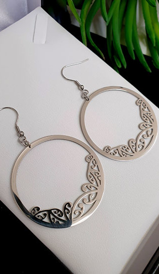 Silver Kowhaiwhai Hoop Earrings 45mm