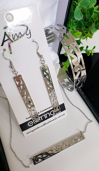 Silver Puhoru Set Rectangle earrings 45mm, 12mm skinny cuff & barchain 50mm