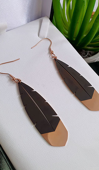 Rose Gold Huia Feather Pendant 45mm earring