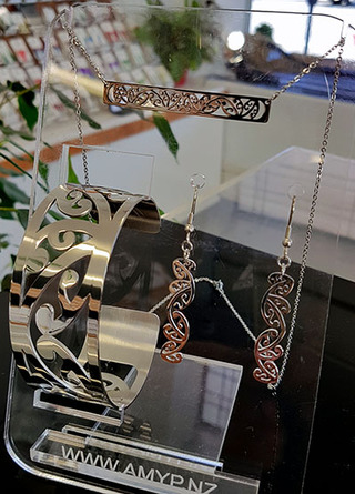 Kowhaiwhai Bar Necklace, Cuff & 35mm cutout earrings. (Rose Gold Stainless steel)