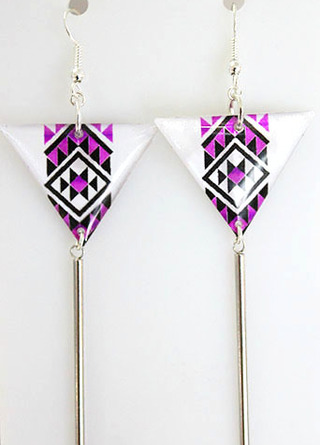 Purple Resin Taniko  Triangles with 40mm Stainless steel tube tassel