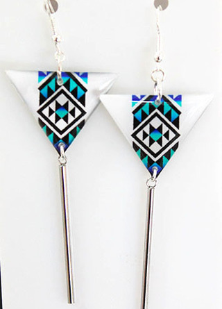 Blue Resin Taniko  Triangles with 40mm Stainless steel tube tassel