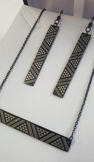 Black Taniko Bar Pendant (horizontal) 55mm on stainless steel chain with rectangle 50mm earrings