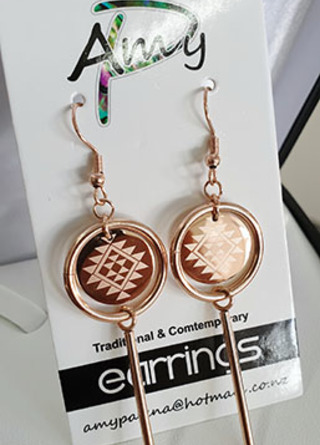 Rose Gold Stainless Steel Circle Tube Taniko earrings 50mm