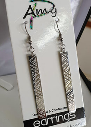 Taniko 50mm Silver rectangle earrings