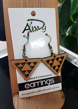Native Wood (Recycled) Niho Taniwha Triangle  Earrings 30mm