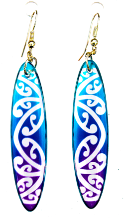 Kowhawhai Translucent Blue & Purple earrings 35mm