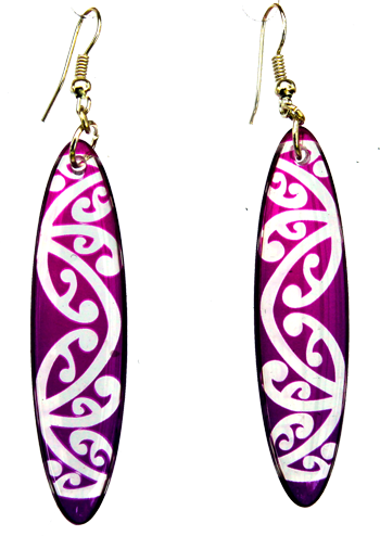Kowhawhai Translucent Purple earrings 55mm