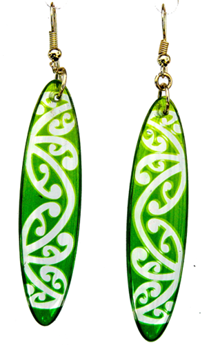 Oval Kowhaiwhai 35mm Green earrings Translucent