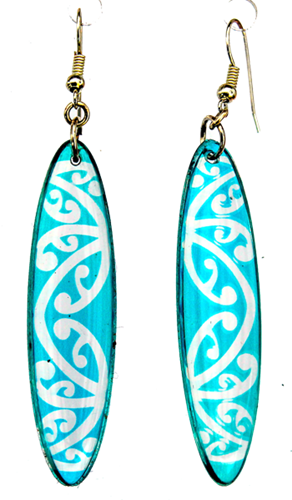 Kowhawhai Translucent Aqua Blue earrings 35mm