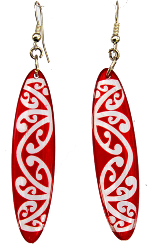 Kowhawhai Translucent Red earrings 35mm