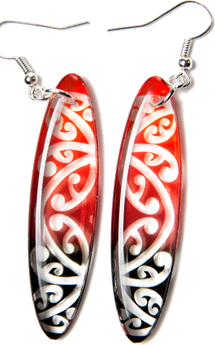 Kowhawhai Translucent Red & Black earrings 55mm