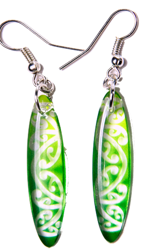 Kowhawhai Translucent Green earrings 35mm