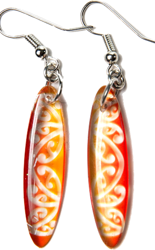 Kowhawhai Translucent Red & Yellow earrings 35mm
