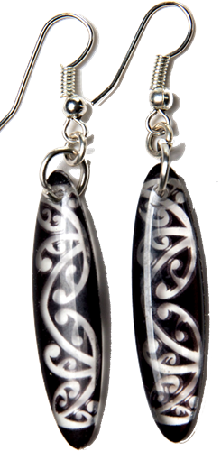 Kowhawhai Translucent Black earrings 35mm