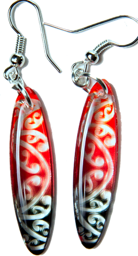 Kowhawhai Translucent Red & Black earrings 35mm