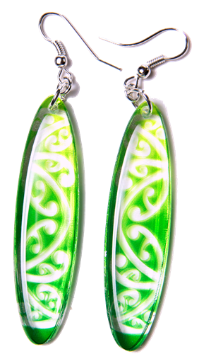 Kowhawhai Translucent Green earrings 55mm