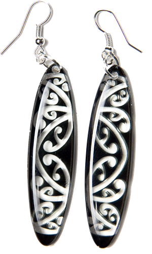 Kowhawhai Translucent Black earrings 55mm