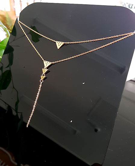 Rose Gold Stainless Steel Niho Double Chain necklace