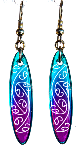 Mangopare Oval 35mm Blue & Purple Earrings