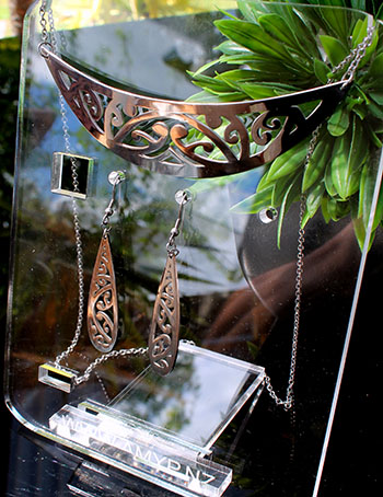 Silver Stainless Steel kowahaiwhai cutout Pendant (2) & 35mm teardrop cutout earrings