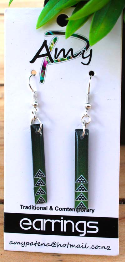 Green Niho Taniwha Resin Earrings 55mm