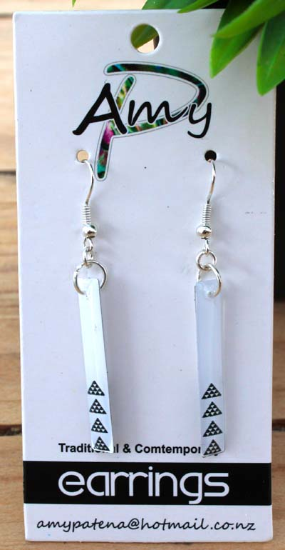 White Niho Taniwha Resin Earrings 35mm