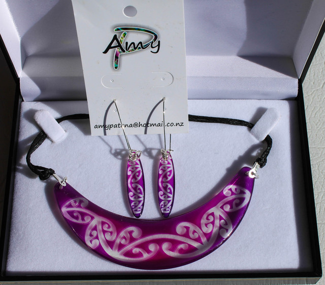 Halfmoon Kowhaiwhai Purple set with 55mm earrings Pendant 125mm On silver  chain Earring hooks a