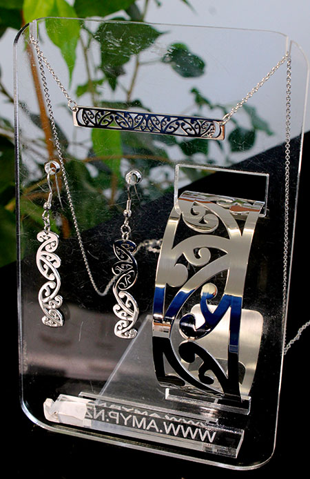 Silver 30mm kowhaiwhai cutout cuff with matching bar necklace & 50mm cutout earrings