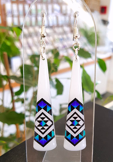 White & Blue Taniko Resin Toki (Shape) Earrings 55mm Surgical Steel Earrings