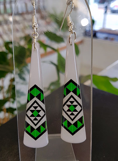 White & Green Taniko Resin Toki (Shape) Earrings 40mm Surgical Steel Earrings