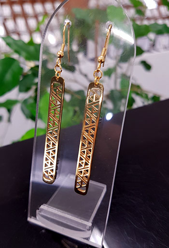 Gold stainless steel niho taniwha CUTOUT earrings 55mm x 5mm