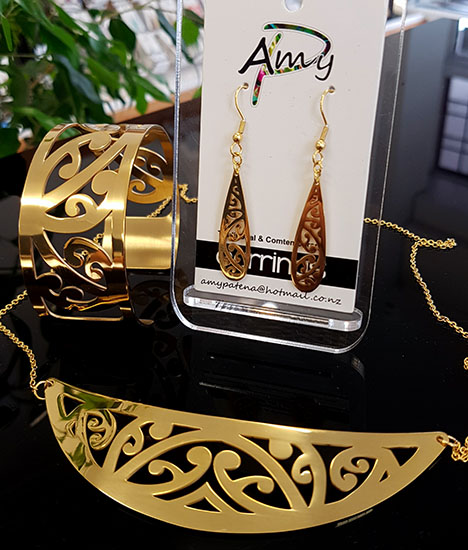 Gold Stainless Steel kowahaiwhai cutout Pendant (2) & 35mm teardrop earrings & Cutout Cuff