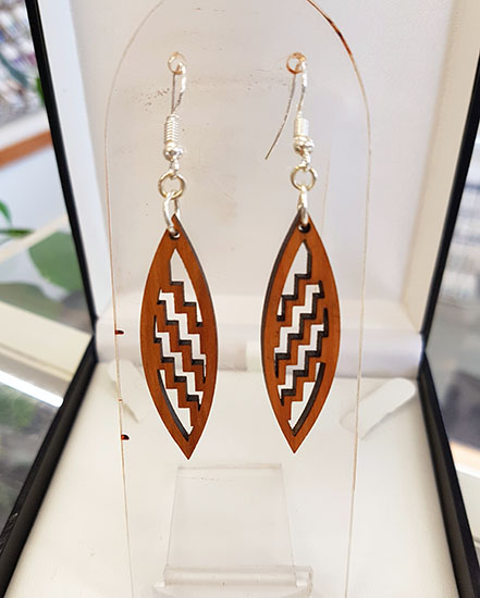 Native Wood (Recycled) Poutama Shield shape Earrings 35mm