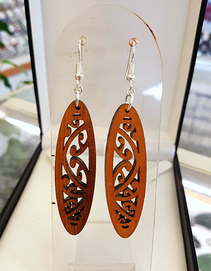 Native Wood (Recycled) Kowhaiwhai Oval Earrings 55mm Rimu wood with surgical steel hooks