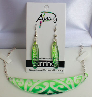 Halfmoon Kowhaiwhai Green/Lime set with 55mm or 35mm earrings